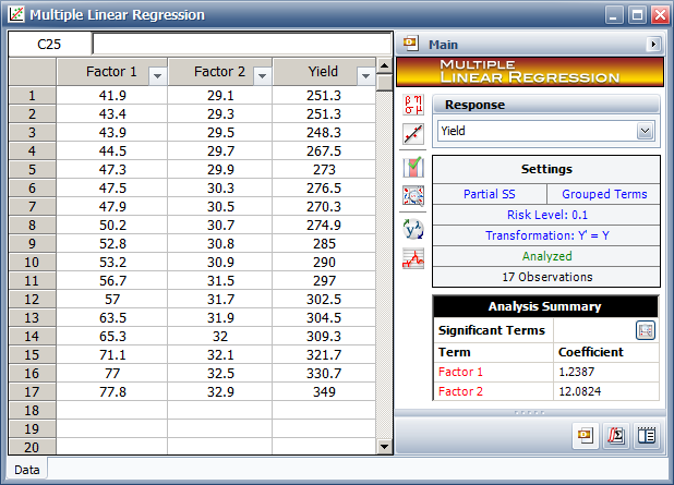 Multiple Regression tool in Webibull++ with the data in the table.