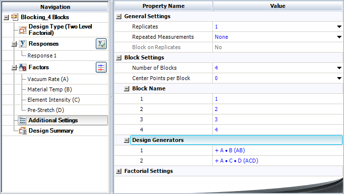 Specifying the interactions AC and BD as block generators for the  example.