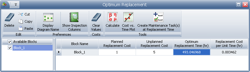 BlockSim's Optimum Replacement Utility