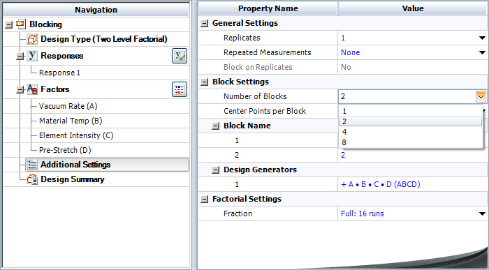 Adding block properties for the experiment in the example.