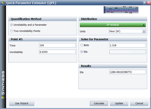 BlockSim's Quick Parameter Estimator (QPE) used to determine a new eta based on the newly determined reliability target